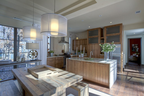 HGTV Green Home Kitchen in Serenbe, GA. Modern farm house design and style featured in the wooden fixtures.
